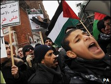 Muslims protesting in London over Israel's attacks on Gaza