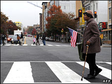 Washington DC resident Alnett Wooten, 86, on her way to vote on 4 November, 2008 in the traditionally African-American Shaw neighbourhood of the city (File picture)