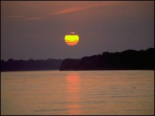 A sunset over the Amazon jungle, Peru