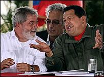 Luiz Inacio Lula da Silva y Hugo Chávez