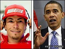 Nicky Hayden and Barack Obama