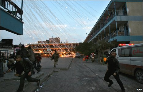 Israeli strike over a UN school in Beit Lahiya, northern Gaza Strip early on 17 January 2009