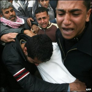 Men cry during the funeral of several Palestinians killed during Israeli strikes at the Bureij refugee camp in central Gaza Strip on 17 January 2009