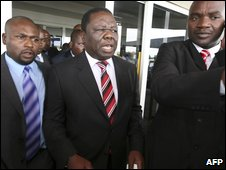 Zimbabwean opposition leader Morgan Tsvangirai at Harare airport on 17 January 2009