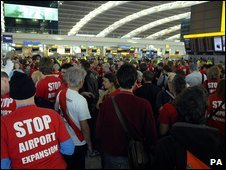 Activists opposed to a third runway at Heathrow Airport
