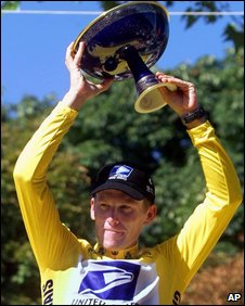 Lance Armstrong winning the Tour de France in 1999