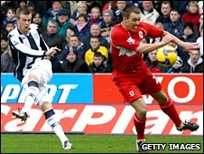Chris Brunt (l) fires West Brom ahead against Middlesbrough