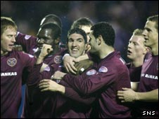 Hearts celebrate Bruno Aguiar's strike