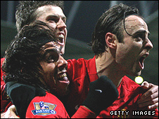 Carlos Tevez, Michael Carrick and Dimitar Berbatov