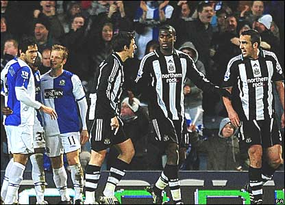 Blackburn Rovers celebrate, Newcastle United furious