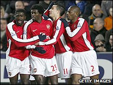 Arsenal celebrate their first goal