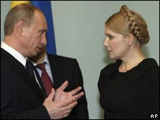 Russian PM Vladimir Putin and Ukrainian PM Yulia Tymoshenko
