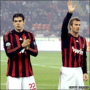 David Beckham waves to the Milan fans before the 1-0 win over Fiorentina