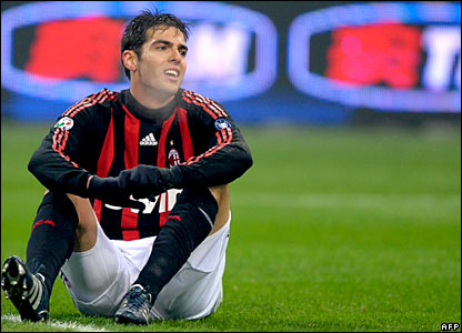 Kaka sits on the ground at the San Siro
