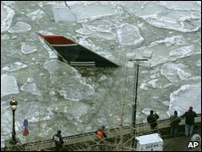 The US Airways plane in the Hudson River, 17 January