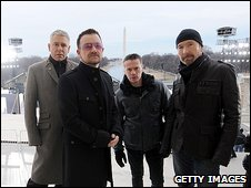 U2 amid preparations for the Obama concert in Washington DC on Sunday