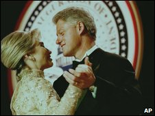 Hillary and Bill Clinton dance during one of his inauguration balls.