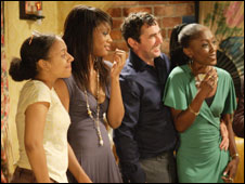 Libby, Chelsea, Kevin and Denise in EastEnders