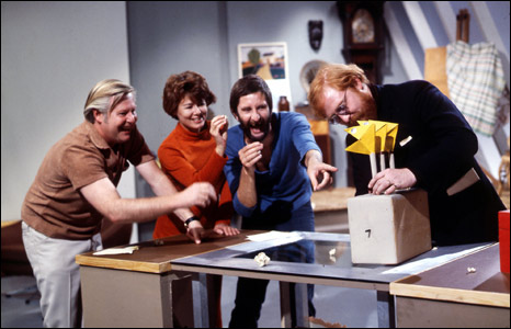 Tony Hart with Vision On presenters in 1970