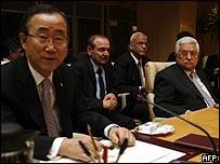 الرئيس الفلسطيني ونظيره التشيكي وأمين عام الأمم المتحدة (18/01/09)