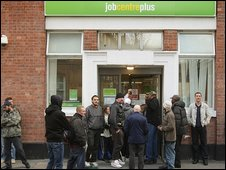 Queue outside a Job Centre in Westminster
