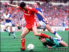 Ian Rush goes round Bobby Mimms to equalise for Liverpool