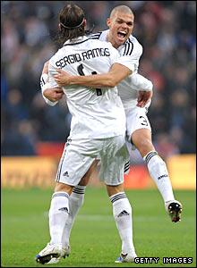 Sergio Ramos celebrates with team-maet Pepe