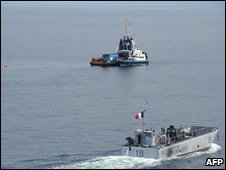 French teams search for the missing soldiers off gabon, 18 Januray
