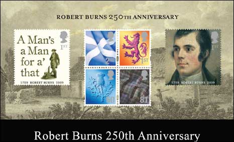 Robert Burns anniversary stamps