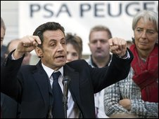 French President Nicolas Sarkozy talking to PSA Peugoet Citroen workers, 15 January