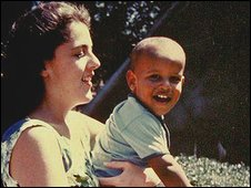 A young Barack Obama with his mother. 