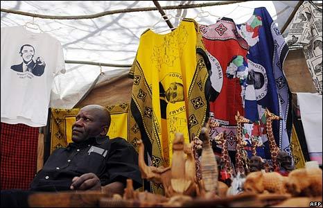 A Kenyan entrepreneur sells Obama merchandise in the village of Nyangoma Kogelo, Kenya. (18 January 2009)