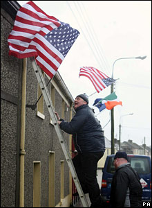 Locals put up United States' flags in the village of Moneygall, County Offaly, Ireland. (18 January 2009)