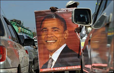 A Kenyan hawker sells Barack Obama posters to motorists in Nairobi.