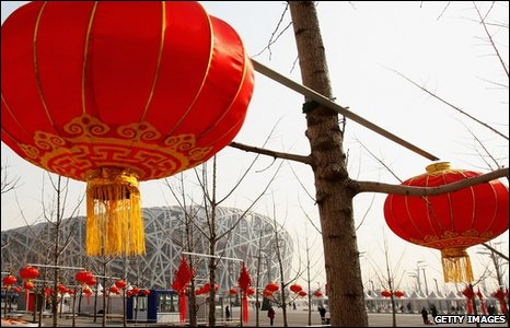 Chinese Lanterns outside the Bird's Nest