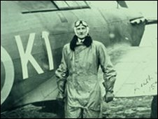Sir Keith Park with his Hurricane