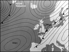 Weather map in black and white showing UK and northern Europe and isobars and fronts