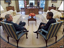 President George W Bush (left) with President-elect Barack Obama in the Oval Office in November 2008