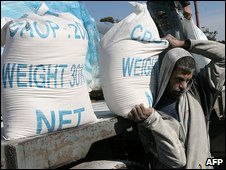 Food aid at Rafah refugee camp