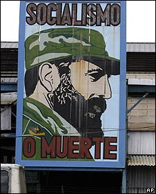 Billboard in Havana with picture of Fidel Castro and slogan: Socialism or Death