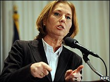 Israeli Foreign Minister Tzipi Livni speaks at a news conference in Washington DC, US (16/01/2009)