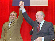 Fidel Castro and Mikhail Gorbachev in Havana, April 1989