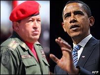 Hugo Ch�vez (izq.) y Barack Obama