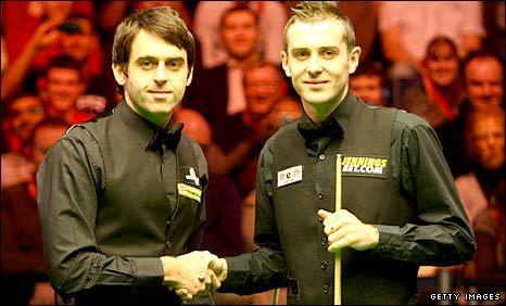 Ronnie O'Sullivan and Mark Selby shake hands before their epic Masters final clash