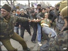 Protest in Srinagar, 6 January