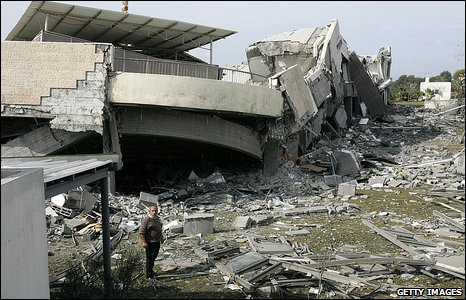 Bombed American International School in in Beit Lahiya