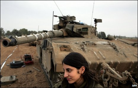 Israeli soldier and tank