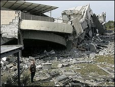 Bombed American International School in in Beit Lahia