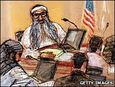 Courtroom sketch showing Khalid Sheikh Mohammed at a pre-trial hearing at Guantanamo Bay, Cuba (19/01/2009)