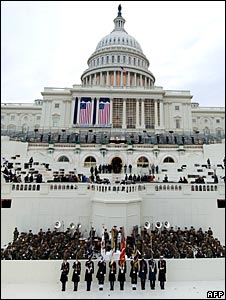 A rehearsal for the inauguration of Barack Obama on the steps of the US Capitol.
